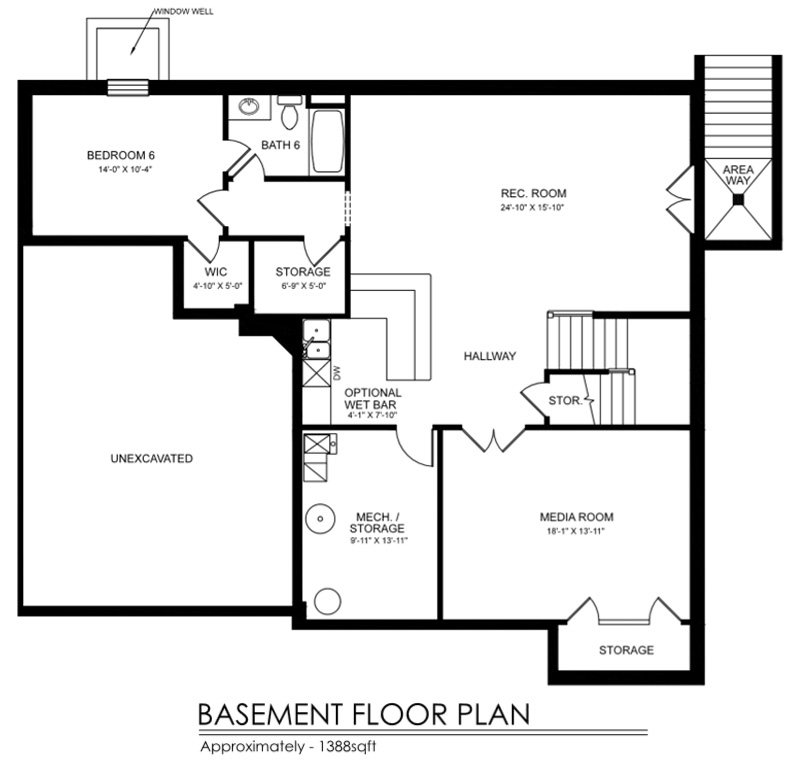 Casmar model saxena custom homes for Custom home floor plans with basement